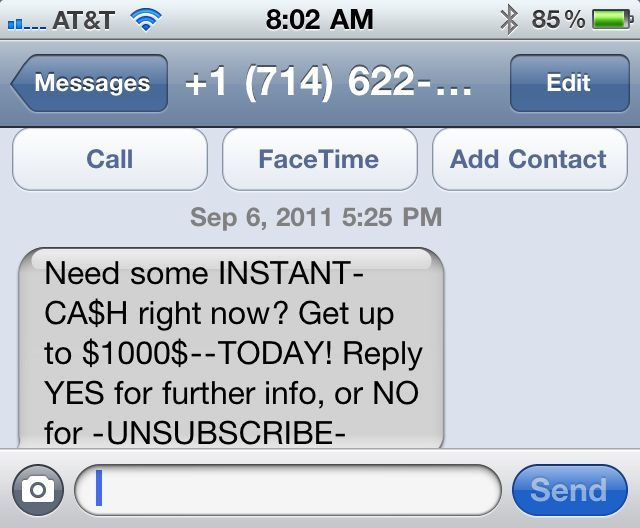 iPhone SMS spam